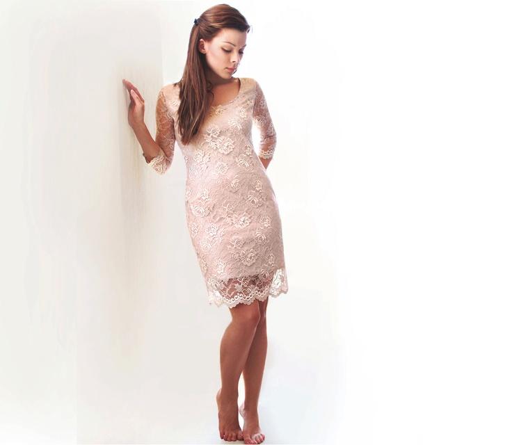 Lace Dress, Bridesmaids Lace Dress in Tan (custom made), Party Lace Dress , Open Back Bridesmaids Dress, Winter Bridesmaids Dress. $100.00, via Etsy. LOVE!!!!!