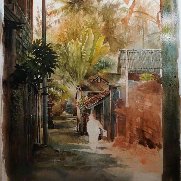 Day 4. Got only couple hours to work today. Adding details on the middleground (brick buildings) and dark wall on the right side as frame. Need to take a break for several days: if you work on a single painting for too long you'll start to lose your objectivity. #watercolor #watercolorpainting #bali