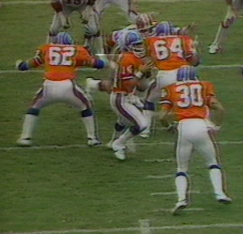 "The Denver Broncos had a stellar offensive line which jelled during the years Robert ""Red"" Miler coached (1977-80). NORRIS WEESE (14) at quarterback with left guard TOM GLASSIC (62), center BILLY BRYAN (64) with running back JIM JENSEN (30)."
