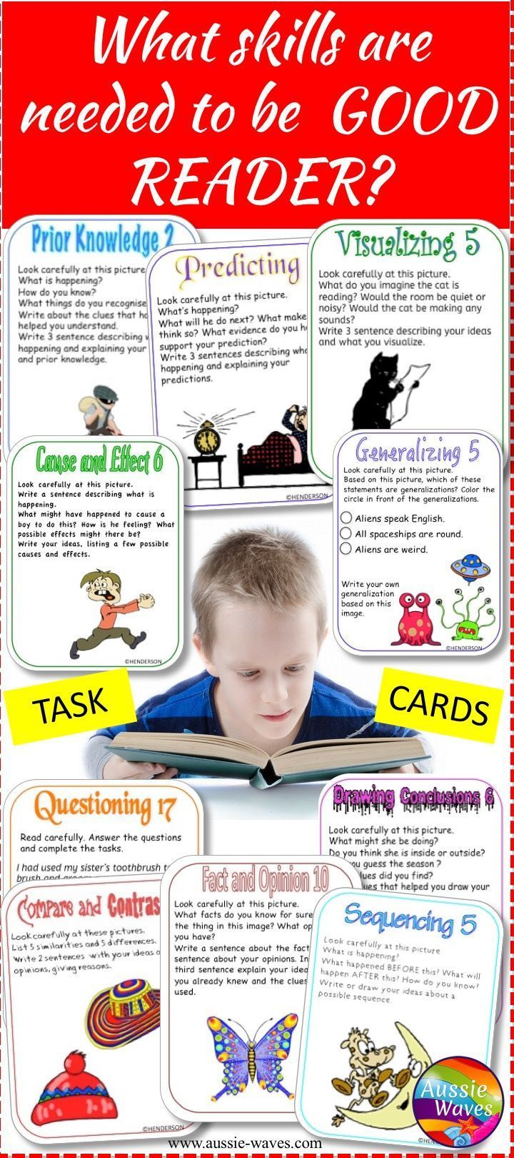 Teach kids how to understand what they read with this bundle of 240 FUN task cards and reading skills posters.