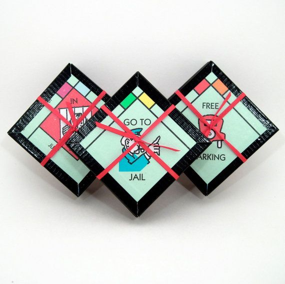 Jeu Coaster Set - monopole Coasters - dessous de verre recyclés - les soirs de match