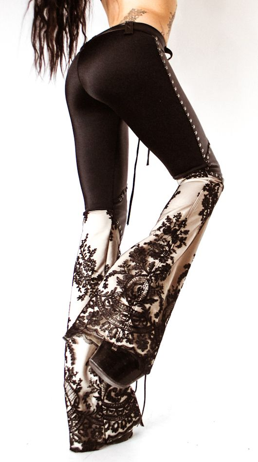 Image of TOXIC VISION leather and lace pants