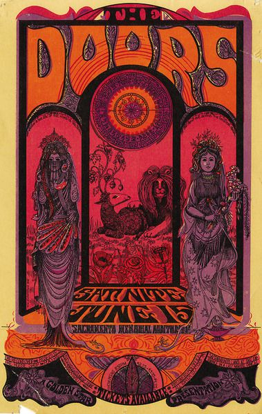 The Doors, 1968 - Sacramento Memorial Auditorium (Sacramento, CA) Art By Sam Sirdofsky.