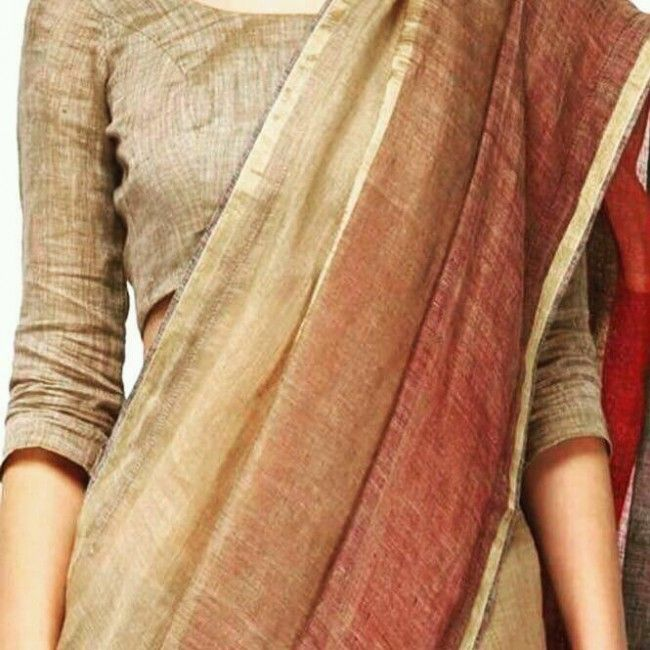 Pure linen saree with blouse