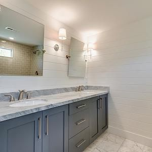 shiplap walls  Beautiful bathroom with dual sink vanity