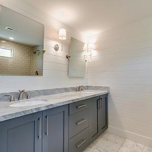 Shiplap Walls Beautiful Bathroom With Dual Sink Vanity