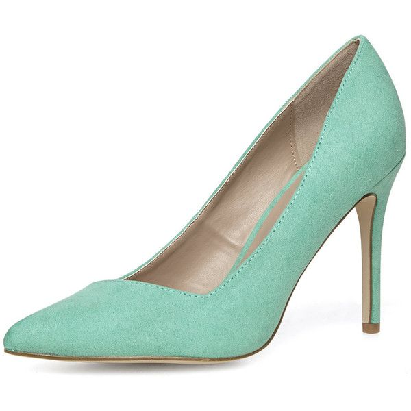 Dorothy Perkins Wide fit mint high point court shoes ($27) ❤ liked on Polyvore featuring shoes, pumps, heels, mint, high heel court shoes, mint shoes, pointed high heel pumps, mint pumps and pointy shoes