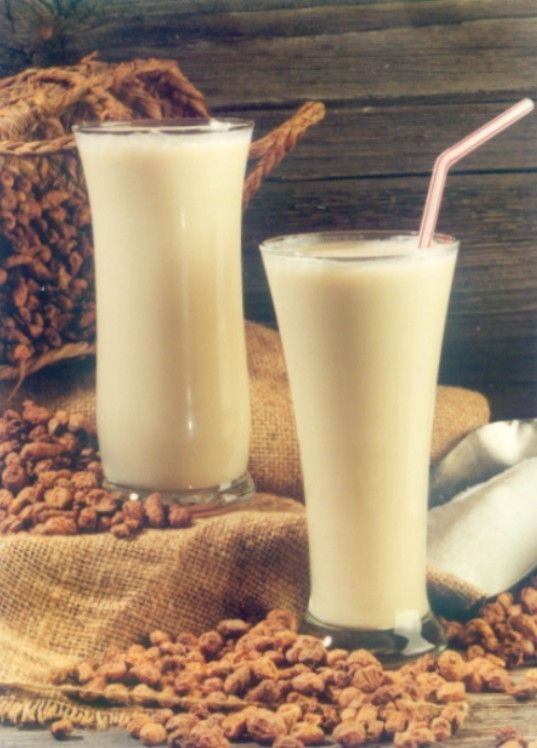 Horchata is a popular, refreshing drink consumed in Spain during the hot summers. It is made from the tubers of the nut sedge plant and in Spanish these are called chufas, hence the name horchata de chufa. Horchata has a white, milky appearance and is served ice cold.