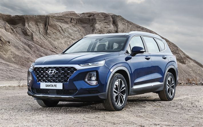 Download wallpapers Hyundai Santa Fe, 2019, 4k, exterior, front view, new SUV, new blue Santa Fe, Korean cars, Hyundai