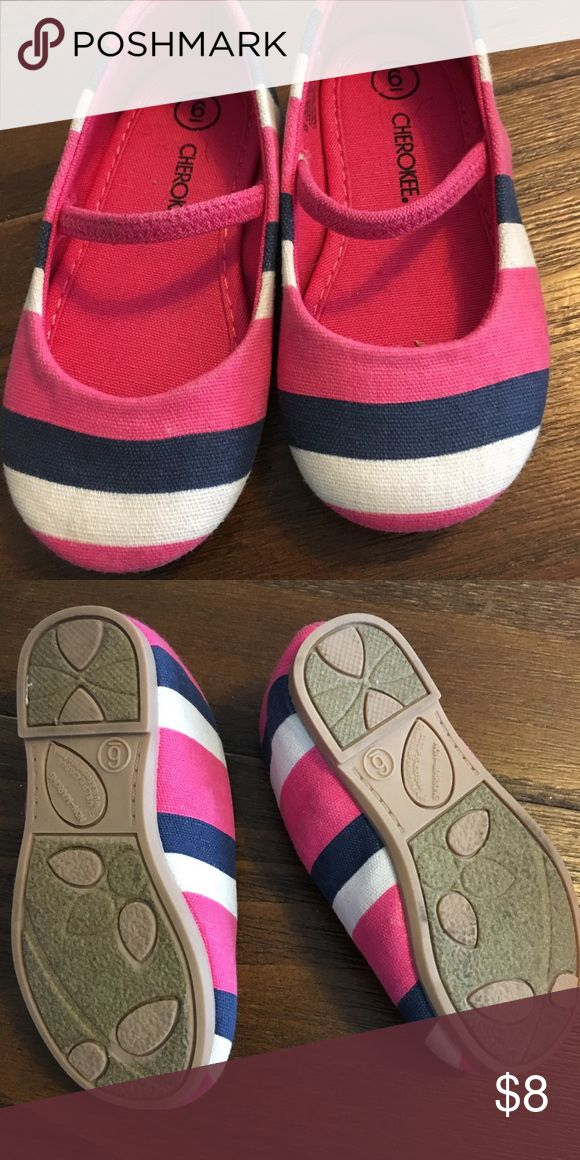Size 6 striped Cherokee brand flats These are so cute, but my daughters feet grow like crazy and she was only able to fit into them for a short period of time so they haven't been worn much! Shoes Dress Shoes