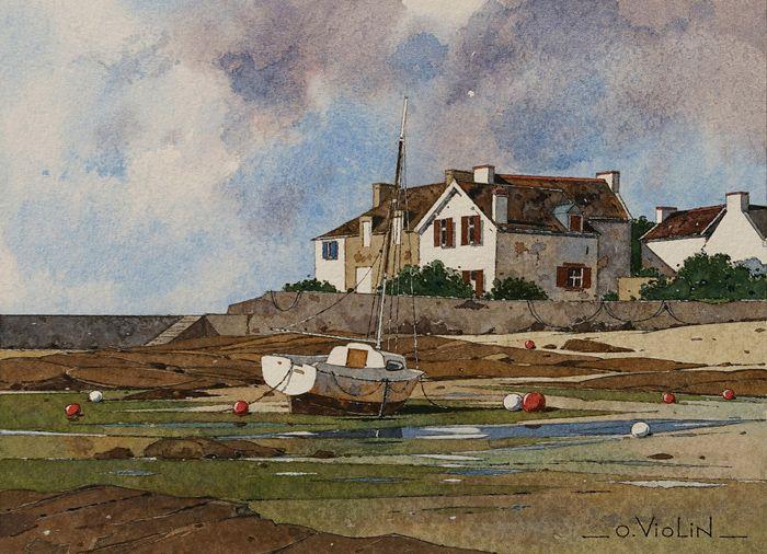 Olivier Violin- Lesconil n*3- Watercolor -aquarelle dessin paysage marine voilier pin up chaton bretagne