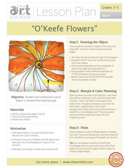 Click to Download Free Lesson Plan - O'Keeffe Flowers- 5 Tips that will help kids to draw BIG!