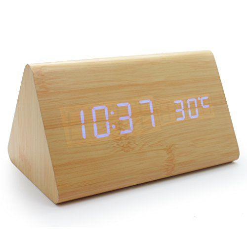 JCC Modern Mini Triangle Wood Grain Thermometer Touch Sound Activated Desk..