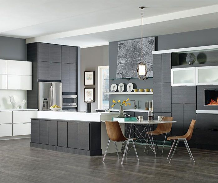 Modern Maple Cabinets With Dark Wood Floor: Contemporary Kitchen With Laminate Cabinets In Obsidian
