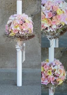Flowers Garden, passion for colours: Lumanare botez cu trandafiri si lisianthus. Design...