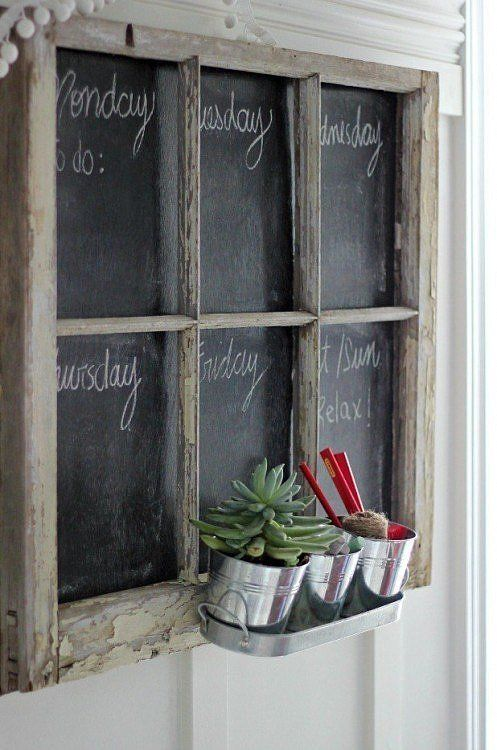 DIY window frame chalkboard makes it easy to stay organized