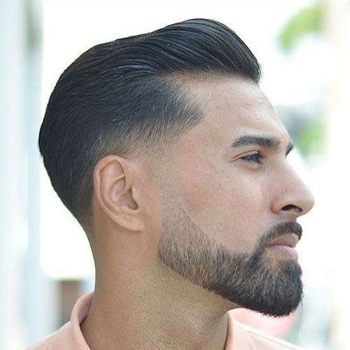 Taper Fade with Brush Back and Beard