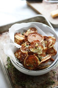 crispy baked potato chips with garlic thyme & parmesan