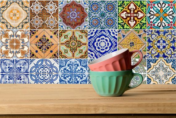 spanish Set of 21 Tiles Decals Tiles Stickers Tiles by AlegriaM