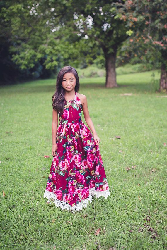 172c1cde634 Girl Toddler Tween Summer Boho Floral Maxi Dress Bohemian Burgundy Photoshoot  Photography Dress Vint