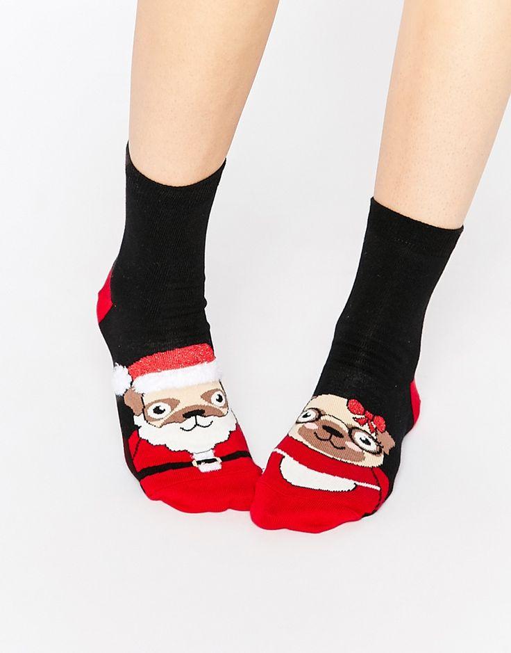 ASOS+Christmas+Mr+&+Mrs+Santa+Pug+Socks