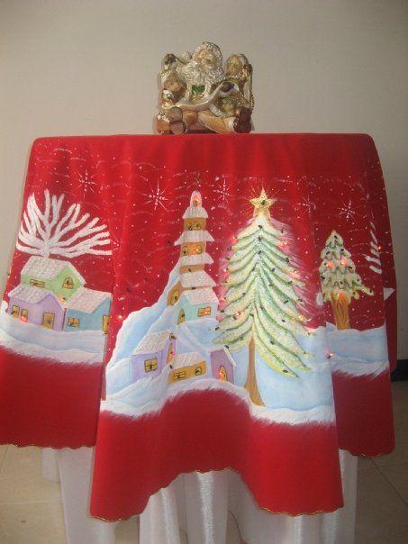 Mantel navide o con luces incorporadas manteles - Hacer un mantel ...