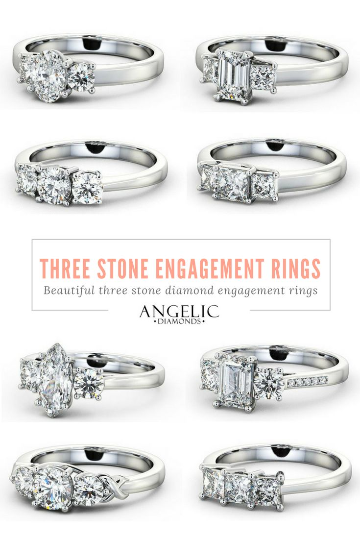Searching for a stylish, modern and unique diamond engagement ring? Take a look at these stunning three stone engagement rings from #AngelicDiamonds. #Engaged #Engagement #EngagementRing #Wedding #Ring #Jewellery #Jewelry #WeddingJewellery #WeddingJewelry #WhiteGold #WhiteGoldRing #Diamond #Diamonds #DiamondRing