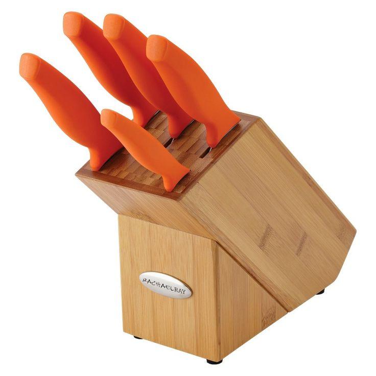 Rachael Ray Cutlery 6 Piece Japanese Stainless Steel Knife Block Set With Orange Handles