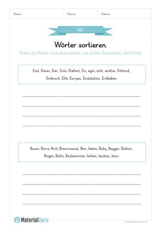 arbeitsblatt alphabet w rter sortieren nach dem zweiten und dritten buchstabe 02 deutsch. Black Bedroom Furniture Sets. Home Design Ideas