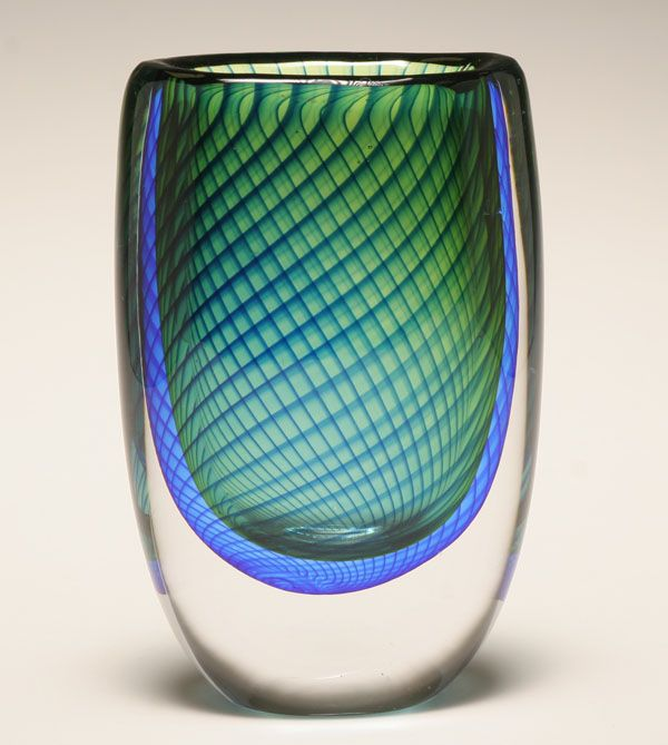 "Kosta art glass vase designed by Vicke Lindstrand, c.1958-59. Engraved signature to base: Kosta, LH 1588. 6 3/4""H. Very good condition."
