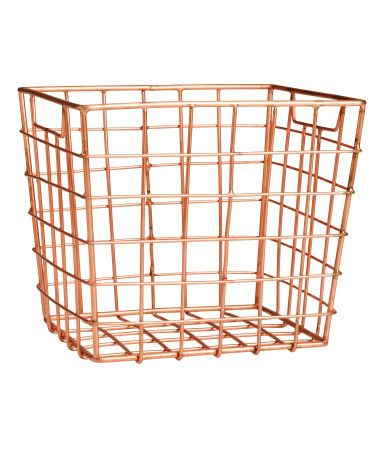 Product Detail | H&M US, Metal wire basket with handles at sides. Size 5 x 5 1/2 x 6 1/4 in., $10 ea