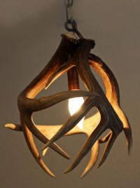 antler light... next to his bed over the night stand... I think I can MAKE THIS!