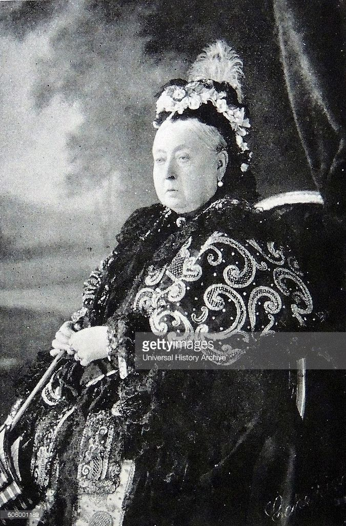Photograph of Queen Victoria (1819 - 1901) in formal dress for the celebration of her Diamond Jubilee, 1897.