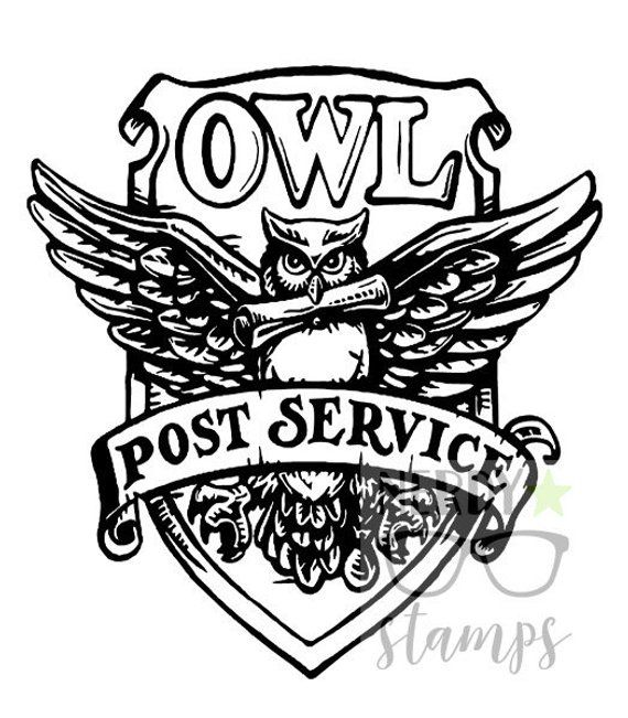 Hogwarts Owl Post Stamp Harry Potter Wood Stamp Rubber Stamp Hogwarts Houses Stationery Owl Post Hedwig Wizard Wedding Wood Stamp Owl Harry Potter Owl