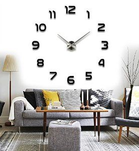 Amazon.com - Alrens(TM)Arabic Numbers 3D Acrylic Frameless Non-ticking Quartz Mirror Wall Clock DIY Large Stylish and Elegant Clock Décor Art Living Room Coffee House Decorative Decal Removable Wall Sticker Decor -