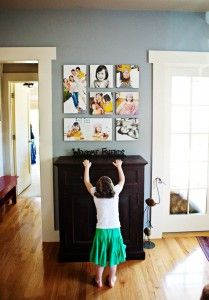 Love the idea of  pics on wall great use of images for a small, everyday space.