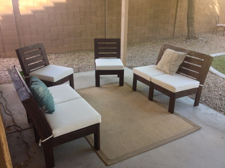 Patio furniture. I used 2x4's and 1x4's, a Kreg Jig, and 3 coats of Espresso stain, then a few coats of deck sealant.
