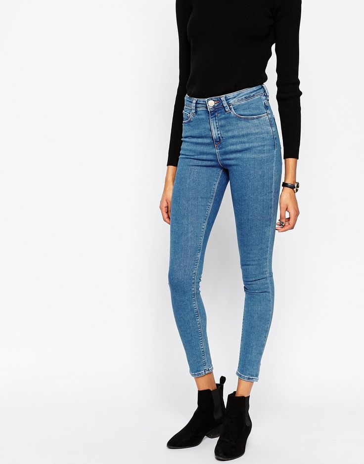 Image 1 of ASOS Ridley Skinny Ankle Grazer Jeans in Lily Pretty Mid Stonewash