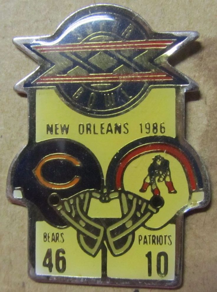 Rare Super Bowl XX Bears Vs. Patriots 1986 pin Starline NFL Free Shipping #Starline