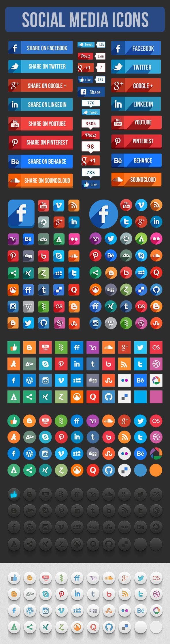 Free PSD Here. This is a set of vector social media icons and some social share elements. Well organized layer names... Included Files- PSD (%100 Vector Shaped). check out HUGE long shadow icon set. Enjoy it...