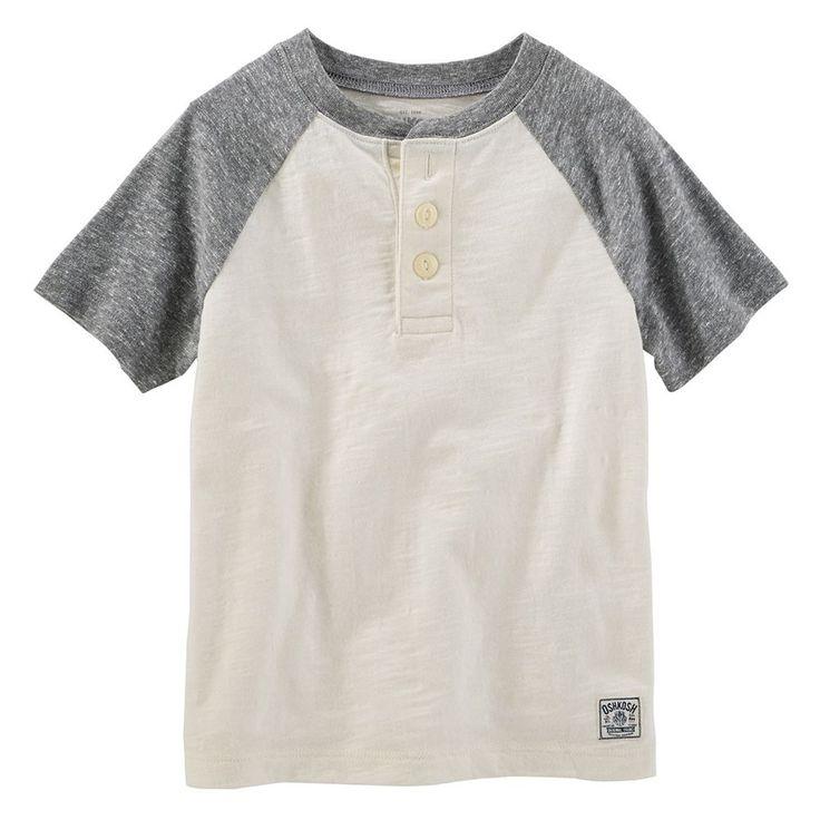 Toddler Boys OshKosh B'gosh® Slubbed Henley Tee, Size: 4T, White