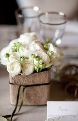 Burlap, square centerpiece with white ranunculus