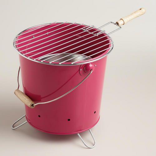Mini Pink Galvanized Steel Bucket Grill | World Market