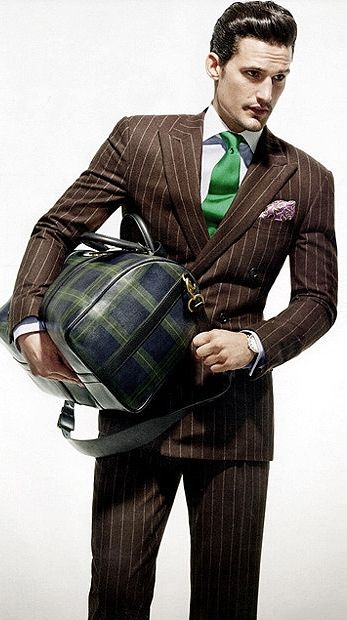 Brown Pinstripe Suit Green Tie Pink Pocket Square