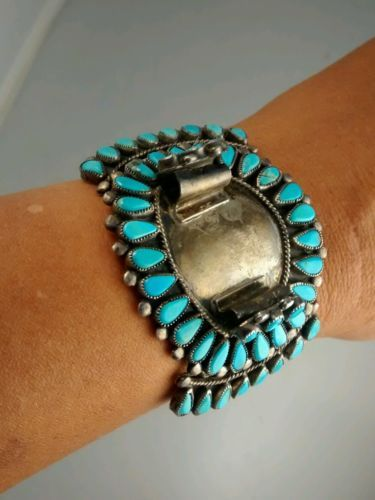 old-pawn-Native-American-Zuni-sterling-turquoise-petit-point-watch-band-cuff
