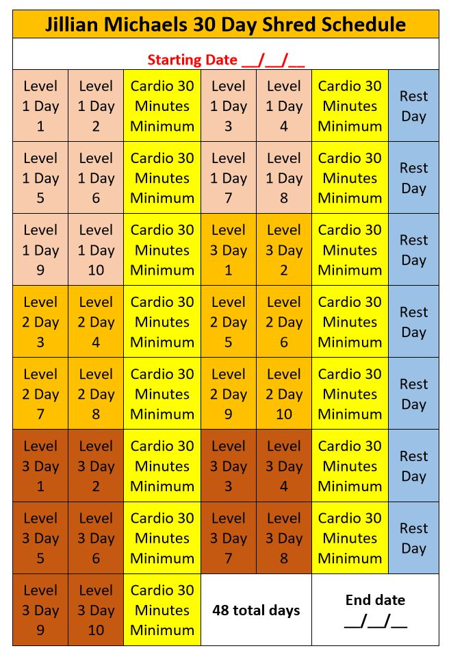 Jillian Michaels 30 Day Shred Schedule                                                                                                                                                                                 More