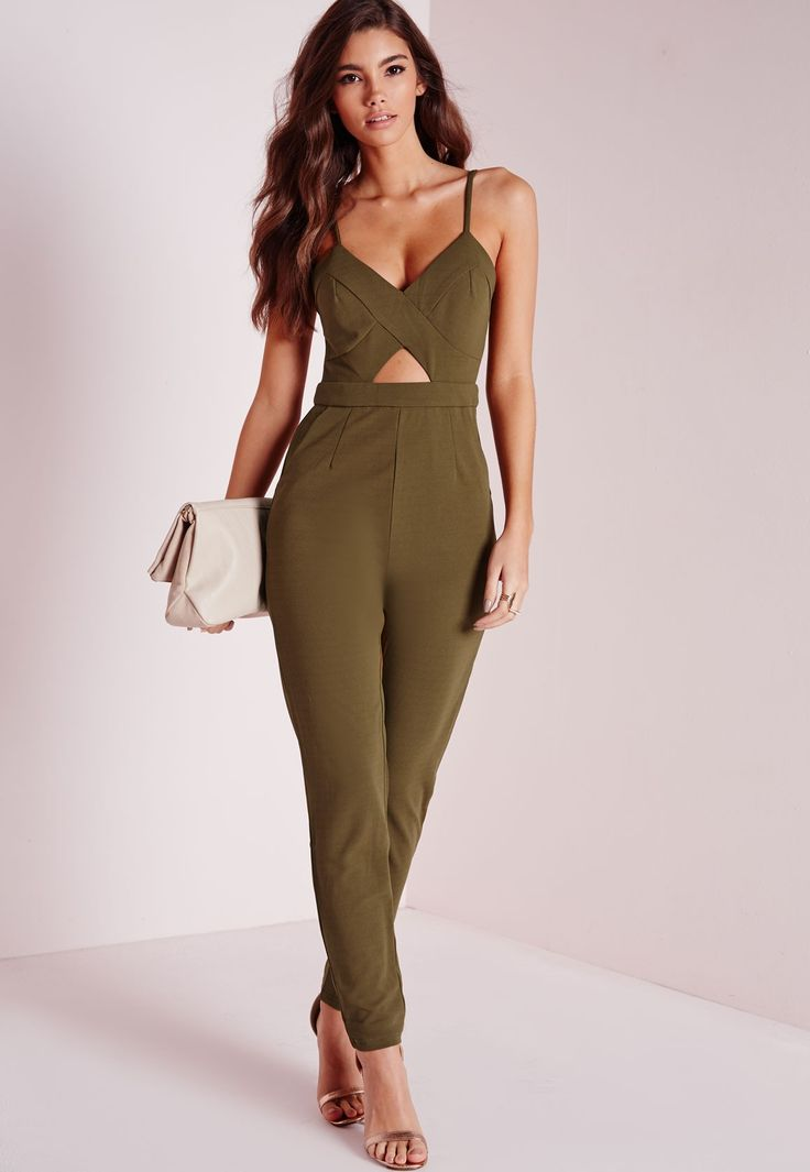 Missguided - Strappy Cut Out Jumpsuit Khaki