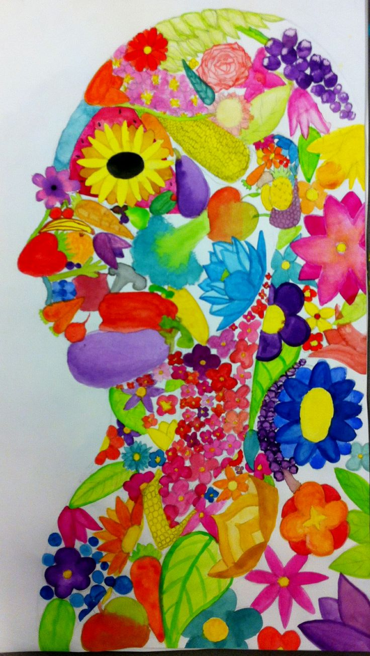 a school project: profile filled with a collage of  flowers, fruits and vegatables.