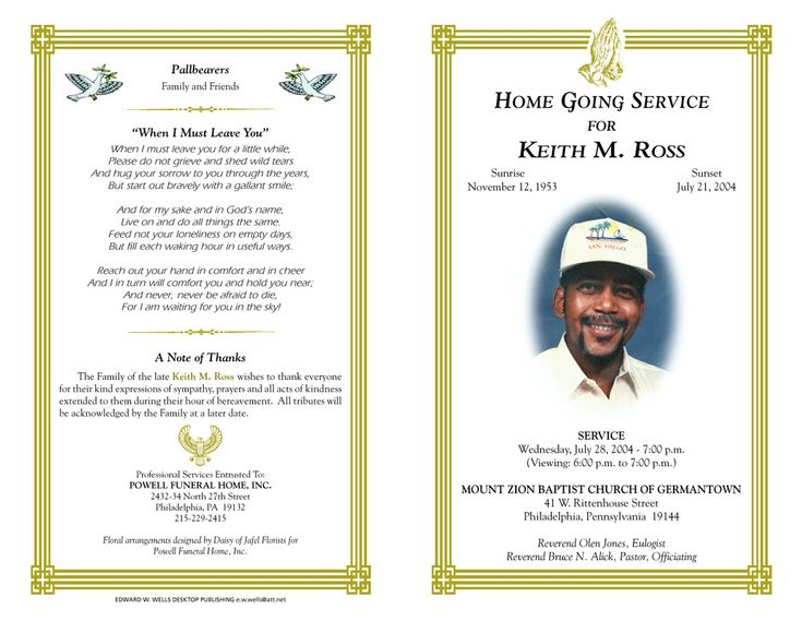 64 best MEMORIAL LEGACY \ PROGRAM TEMPLATES images on Pinterest - funeral program template microsoft