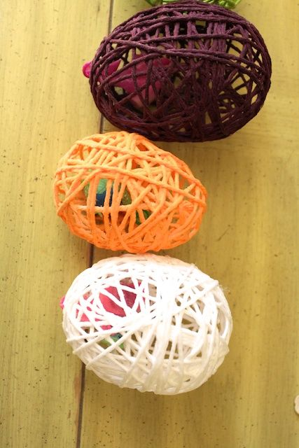 yarn easter eggs – using only yarn and mod podge – including instructions for ho… – Stuff I want to make